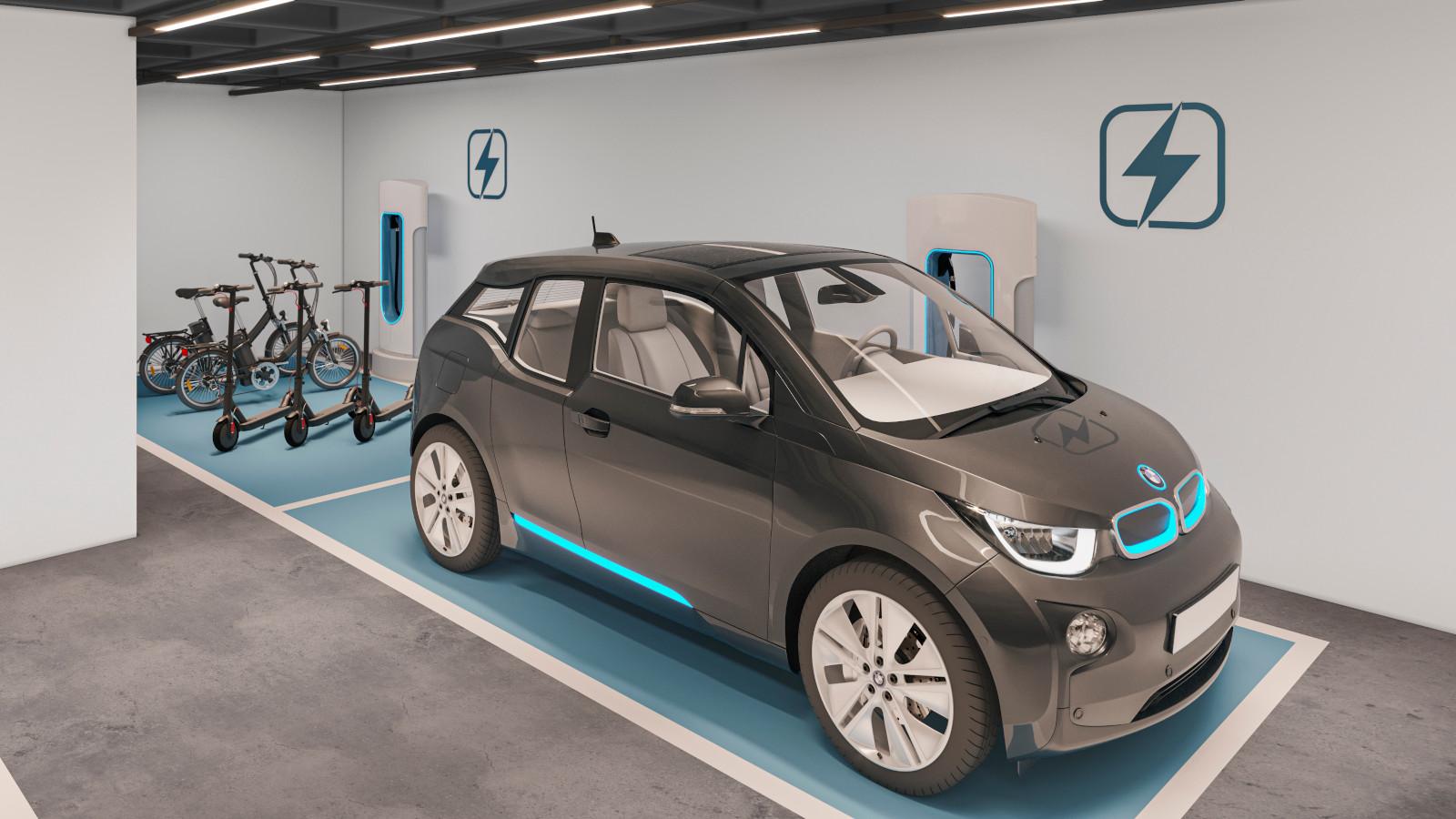 Vaga de garagem para carregamento de veículos elétricos