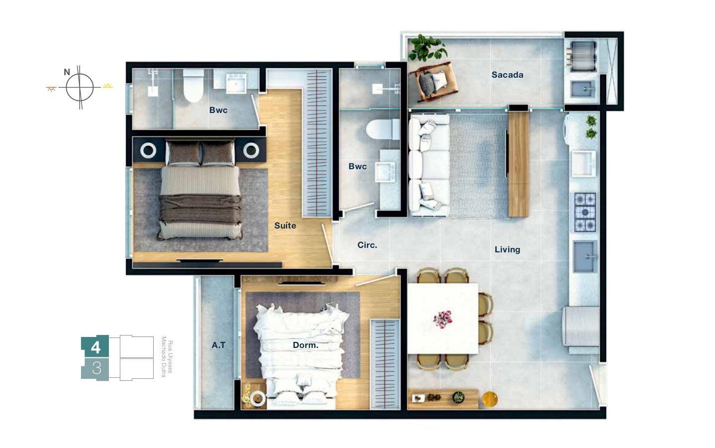 Planta do apartamento - TIPO 3 E 4